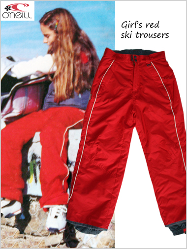 Girl's red ski trousers - age 8