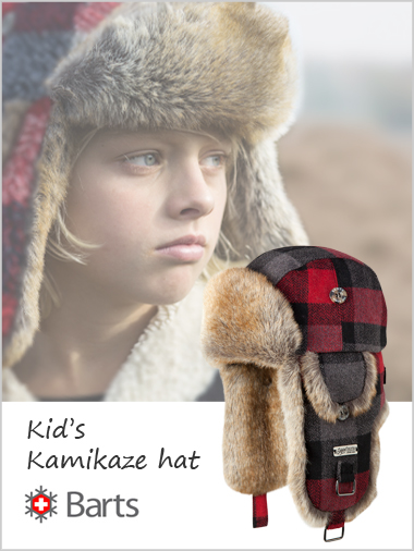 Kid's Kamikaze Hat - Red checks
