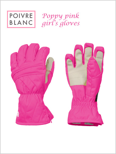 Junior: Girl's poppy pink gloves (age 8-9)