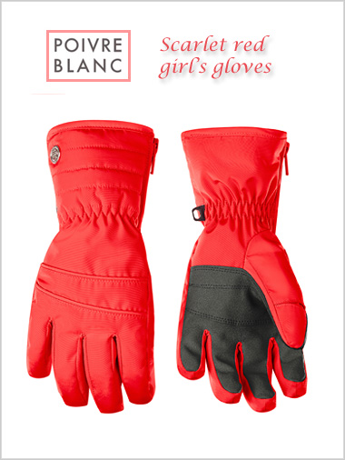 Junior: Girl's scarlet red gloves (ages 8-13)