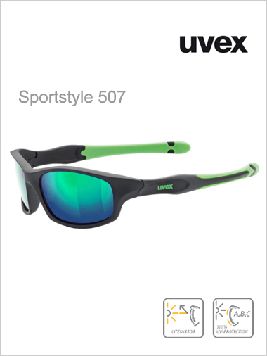 Junior - Sportstyle 507 black (green mirror lens)